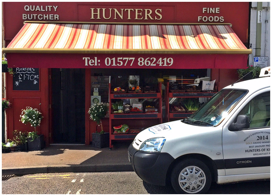 Hunters of Kinross Delivery van and exterior of shop